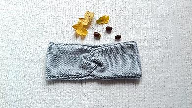 Ozdoby do vlasov - Pletená čelenka - sivá - 12423059_