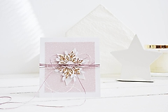 Papiernictvo - Vianočný pozdrav - vločky (Ružová) - 12425419_