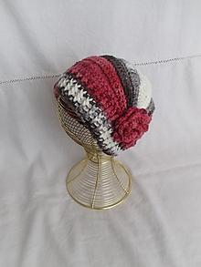 Čiapky - Háčkovaná čiapka (ružovo-sivo-biela) - 12423658_
