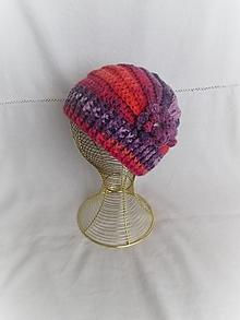 Čiapky - Háčkovaná čiapka (fialovo-oranžovo-ružová) - 12423682_