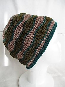 Čiapky - Háčkovaná čiapka (zeleno-hnedá) - 12423934_