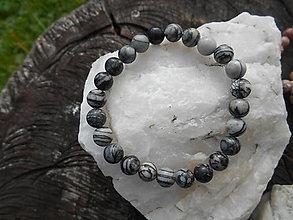 Náramky - colors minerals-náramky-AKCIA! (jaspis-čierno-biely-náramok) - 12427019_