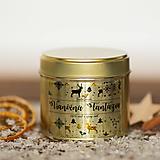 Sviečka zo 100% sójového a 100% včelieho vosku v plechovke gold - Vianočná Fantázia