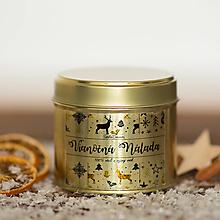Svietidlá a sviečky - Sviečka zo 100% sójového a 100% včelieho vosku v plechovke gold - Vianočná Nálada - 12426177_