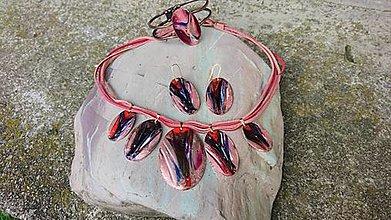 Sady šperkov - Červená a lila - 12426379_
