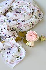"""Šatky - Veľká dámska elegantná šatka/pléd z exkluzívnej kvetinovej látky zo 100% ľanu """"LinenRose"""" - 12425223_"""