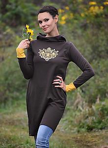 Šaty - Mikinošaty Chocolate Gold - 12423241_