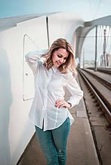 Košele - Dlhá biela košeľa - 12426073_
