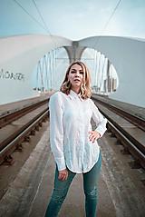 Košele - Dlhá biela košeľa - 12426074_
