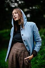 Kabáty - Obojstranný vlneno-ľanový kabátik pre ženy (VIAC FARIEB) - 12422586_