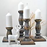 Svietidlá a sviečky - Drevené svietniky-sada 4 kusy - 12423217_