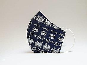 Rúška - Tvarované dvojvrstvové rúško - Modré Čičmany - 12424662_