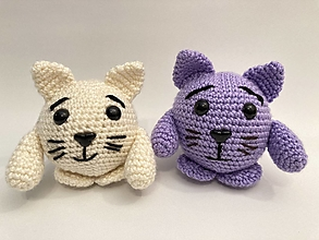 Hračky - mačka guľatá - háčkovaná hračka - 12425937_