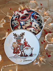 Dekorácie - Drevené vianočné ozdoby - Slovensko, červeno-modrá folklórna kolekcia 2 - 12427903_