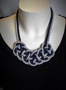Náhrdelníky - Sivo-modrý uzlový náhrdelník - 12428082_