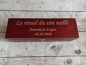 Krabičky - Gravirovana svadobná krabica na víno - 12431012_