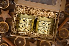 Darčeková sada sviečok zo 100% sójového a 100% včelieho vosku v plechovke Gold