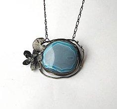 """Náhrdelníky - cínový šperk s minerálom  """"Lekno"""" - 12430782_"""