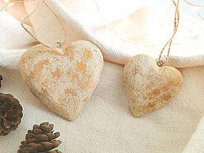 Dekorácie - Vianočná ozdoba srdce 2 ks - 12427428_