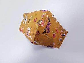 Rúška - Dizajnové bavlnené rúško - Flowers  (Okrové - kvietky) - 12430768_
