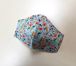 Rúška - Dizajnové bavlnené rúško - Flowers  (Tyrkysove - modre a okrove kvetinky) - 12430783_