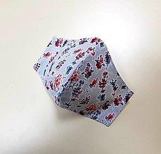 Rúška - Dizajnové bavlnené rúško - Flowers  (Sivé - vetvičky) - 12430826_