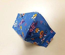 Rúška - Dizajnové bavlnené rúško - Flowers  (Modré - kvietky) - 12430835_