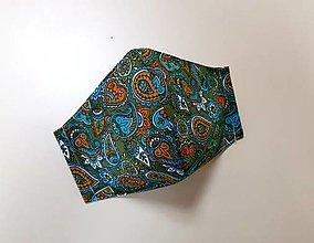 Rúška - Dizajnové bavlnené rúško (Zelene - kašmírový vzor) - 12430860_