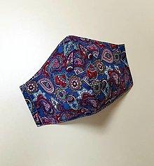 Rúška - Dizajnové bavlnené rúško (Modré - kašmírový vzor) - 12430869_