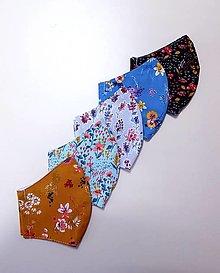 Rúška - Dizajnové bavlnené rúško - Flowers  - 12430959_