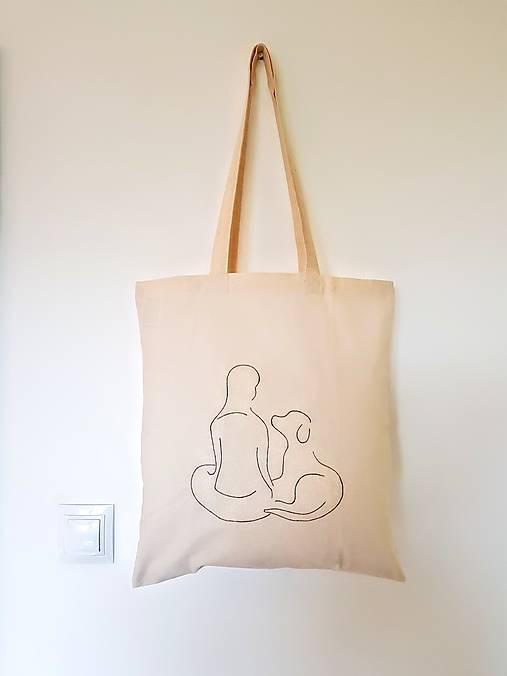 •ručne maľovaná plátená taška - žena a pes•