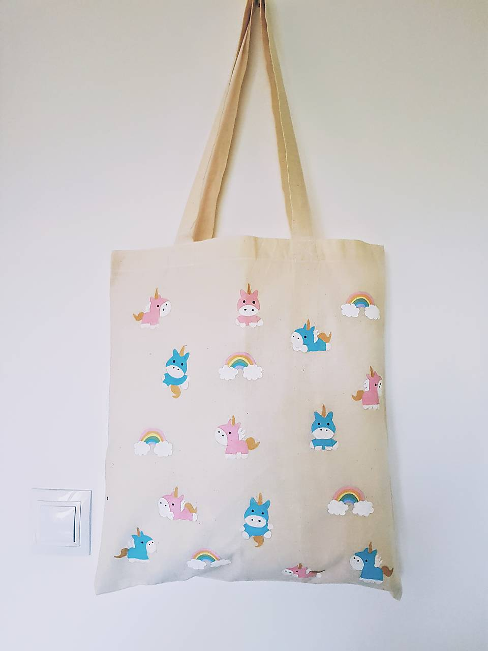•ručne maľovaná plátená taška - jednorožci•