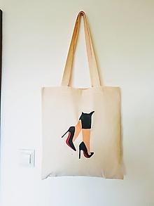 Nákupné tašky - •maľovaná plátená taška - lodičky• - 12428707_
