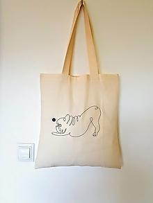 Nákupné tašky - ZĽAVA•plátená taška - francúzsky buldoček s loptou• - 12428771_
