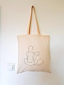 Nákupné tašky - •ručne maľovaná plátená taška - žena a pes• - 12428871_