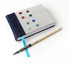 Papiernictvo - Vyšívaný zápisník Bodky/francúzske uzlíky petrolejové - A6 - 12427471_