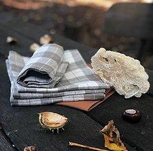 Úžitkový textil - Ľanová utierka KÁRO - 12429803_