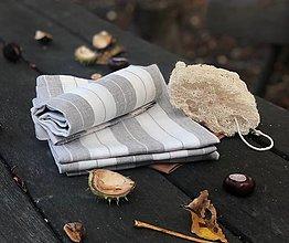 Úžitkový textil - Ľanová utierka PÁSIK - 12429831_