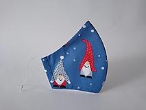 Rúška - Dizajnové rúško škriatok modré tvarované dvojvrstvové (Pánske) - 12433036_