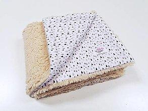 Textil - Béžová ovečková deka + sivo-béžové kvapky 70*100cm - 12433350_