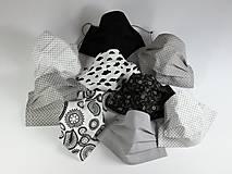 Rúška - Ochranné rúška antibakteriálne ,čierno-biele,šedé - 12432557_