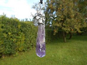 Náhrdelníky - Big violet ametyst crystal and little cristall - 12436270_