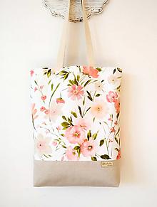 Nákupné tašky - Taška ružové kvety - 12432422_