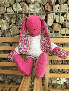 Hračky - ružový zajko v bielom  svetríku .... - 12432118_