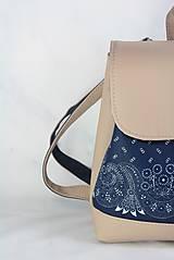 Batohy - modrotlačový batoh Martin béžový 1 - 12435386_