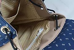 Batohy - modrotlačový batoh Martin béžový 1 - 12435391_