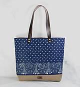 Veľké tašky - Modrotlačová taška Agáta hnedá 2 - 12435397_