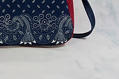 Kabelky - Modrotlačová kabelka Adriana vínovo červená - 12435422_