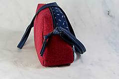 Kabelky - Modrotlačová kabelka Adriana vínovo červená - 12435426_