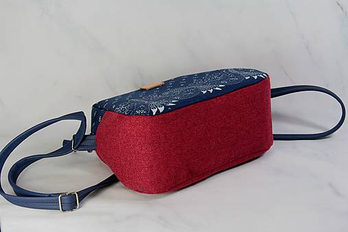 Modrotlačová kabelka Adriana vínovo červená